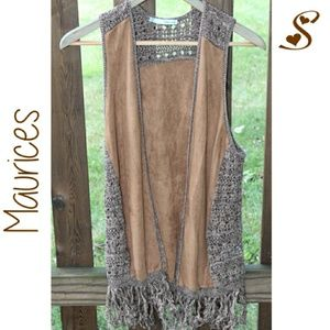 Maurices Leather Fringed Open Vest Cardigan